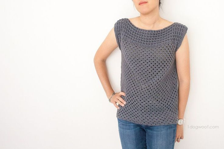 Granny Squared Crochet Top by One Dog Woof – Fantastic FREE crochet pattern – with lots of info on customizing the fit! Get the link for this pattern and more at Hookin' on Hump Day #125.