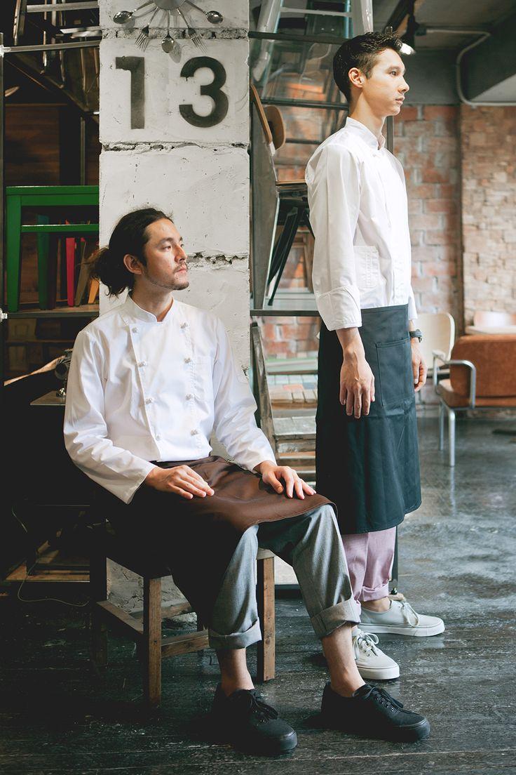 Working wear guoup - amont. Chef coat, chef uniform, barista uniform, restaurant, grey apron, shirts, hat, hunting cap