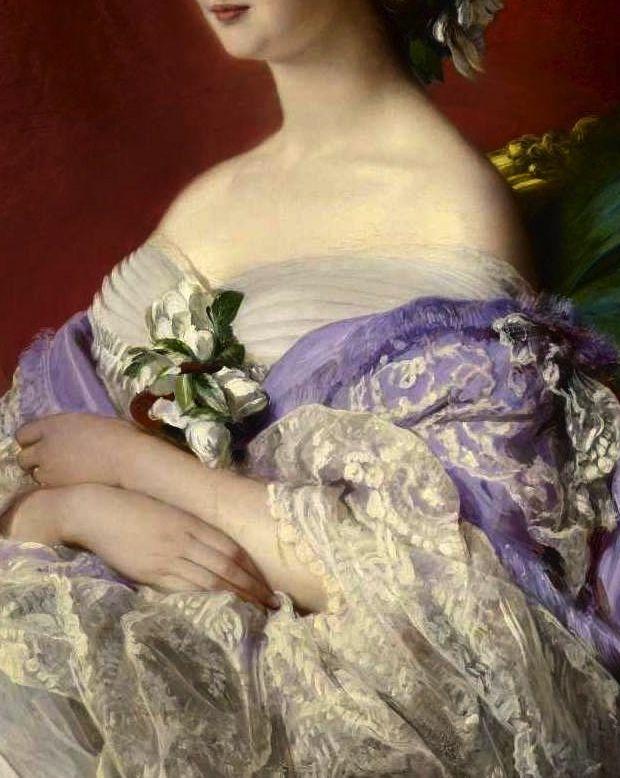 """""""Empress Eugenie"""" (1854) (detail) by Franz Xaver Winterhalter (1805-1873)."""