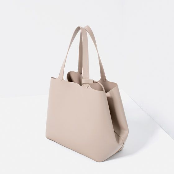 Zara Contrasting Tote Bag Details 29 90 Usd Color Taupe 4318 104 Bags