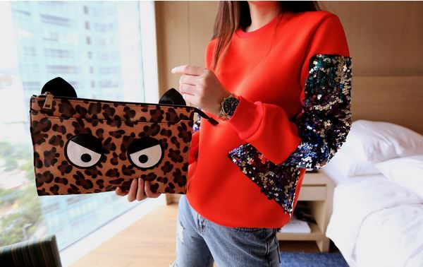 Korea feminine clothing Store [SOIR]  Hopi eyeballs Clutch / Price : 45.34USD  #soir #feminine #lovely #bag #leatherbag #luxury #Partylook #cute #leopard