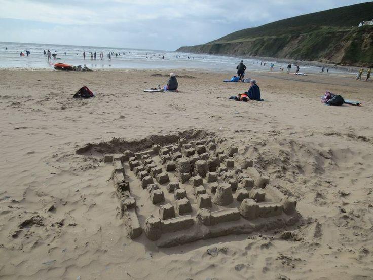 Building sand castles at Saunton Sands in August