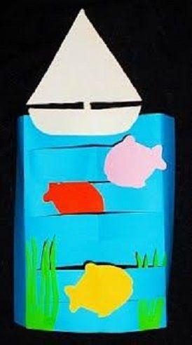 """* Vouw een groot vouwblad (in de lengte) door de midden. Knip de stroken vouw het papier weer open. De stroken om en om naar achteren of naar voren vouwen. De strook van 2 cm, waarin niet geknipt is, omvouwen, zodat """"de zee"""" kan staan op tafel. Blauwe papier beplakken met vissen, planten, bootje en de zee is klaar!"""