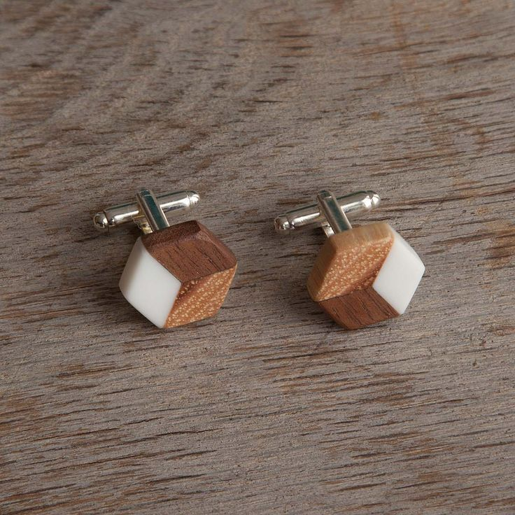 SALVAGED FURNITURE WOOD ISOMETRIC CUFFLINKS | recycled wood jewelry | UncommonGoods