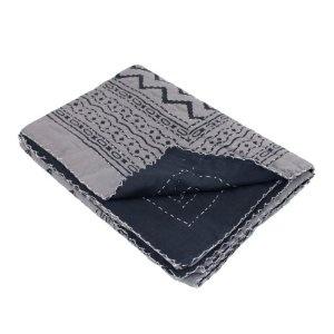 Décoration de chambre - Couvre-lit noir et gris en coton 215 x 139 cm