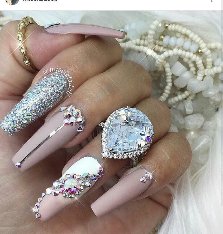 146 best tendencia 2017 uas images on pinterest nail arts blue pink and shimmer long nails prinsesfo Gallery
