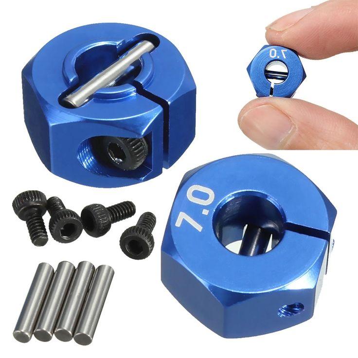 RC Aleación de Aluminio Azul 7.0 Wheel Hex 12mm Disco 4 P HSP HPI Tamiya Coche Traje Para Todos Coche Del 1:10 RC Piezas de Neumáticos conjunto