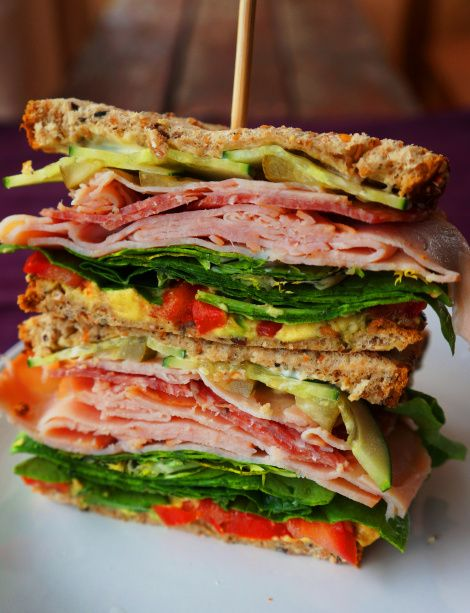 Spring's Bounty Sandwich - this looks so delicious!!  Turkey, Salami, Mayo, Avocado,  Spinach, Tomato, Cucumbers, Pickles, all stuffed between two pieces of yummy seeded bread!!!