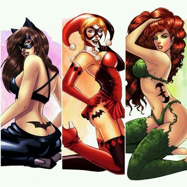 Batman symbol tattooed on Catwoman, Harley, and Ivy
