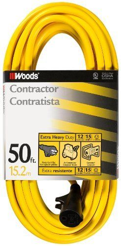 Woods 982554 50-Feet 12/3 SJTW High Visibility Extension Cord, Yellow by Woods. $45.59. Woods 982554 12/3 SJTW High Visibility Extension Cord, Yellow, 50-Foot. Meets OSHA requirements and Industry approvals: UL Listed. Outer jacket won't mark floors or walls. Intended for general indoor/outdoor power equipment. Reinforced blades help prevent accidental bending or breaking. Vinyl jacket resists moisture, abrasion and prolonged exposure to sunlight. Industry approvals: UL/ ...