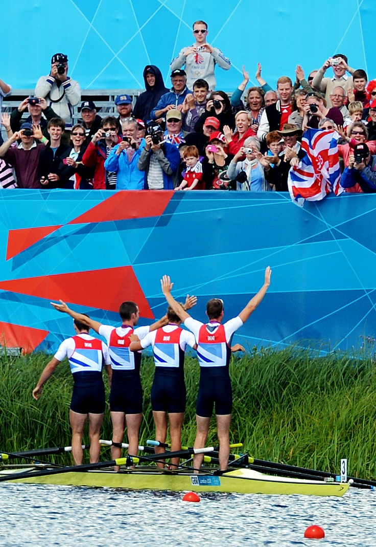 """Olympic picture of the day. Picture editor Jessica Mann says: """"I think this picture, after the Lightweight Men's Four final today at Eton Dorney, shows how grateful these rowers are for the fans. The support for Team GB has been amazing. After receiving their silver medals, the crew rowed to the other side of the lake to show them off to the supporters."""""""