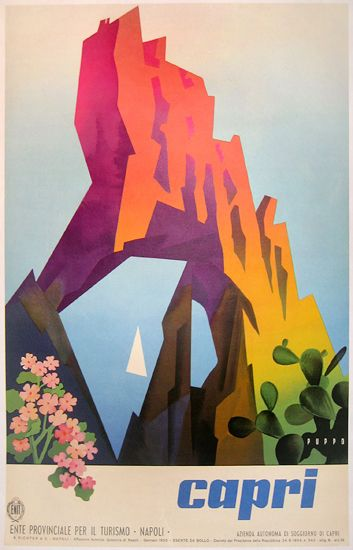 Vintage Italian Posters ~ #Italian #vintage #posters ~ Capri Tourism poster by Mario Puppo (1955)