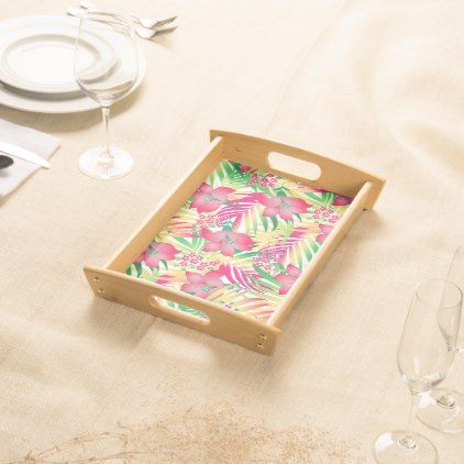 Colored tropical flowers serving tray - floral style flower flowers stylish diy personalize