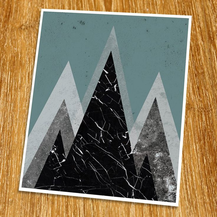 """Modern Art Print (Unframed), Geometric Art, Abstract Art Poster, Mid-century Art, Cafe, Industrial, Loft, Blue Mountain Art, 8x10"""", TD-056. Props and frame are not included. Beautiful picture that will change your room atmosphere to be more fascinating. Geometric art is a new trend for this year. It is a perfect decoration for restaurants, coffee shop, and hotels. This artwork is printed on premium heavy matte photo paper with fade-resistant ink."""