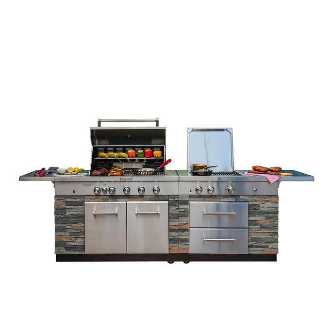 Kitchenaid Stone Island 9 Burner Grill In 2020 Outdoor Kitchen Island Kitchen Aid Outdoor Kitchen Design