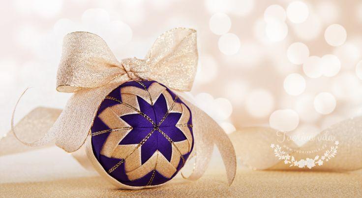 Návod falešný patchwork - vánoční koule - Artyčoková technika