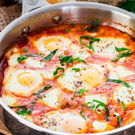 Eggs in Cheesy Purgatory - a spicy and savory breakfast also known as Shakshuka.