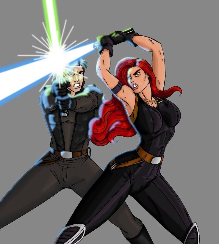 Mara Jade Skywalker dueling Jacen Solo