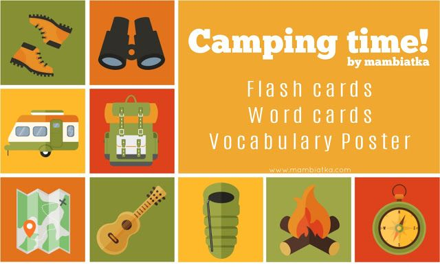 Mambiatka | English for kids | Resources for teachers and parents: Camping Time! Flash cards and word cards