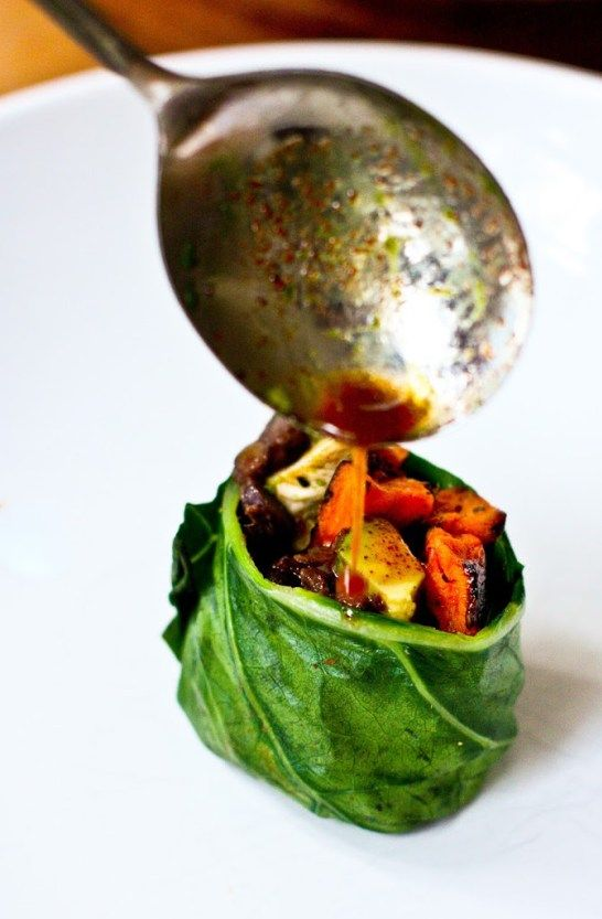 Collard Green Wraps with Sweet Potato and Chipotle Black Beans | Feasting At Home