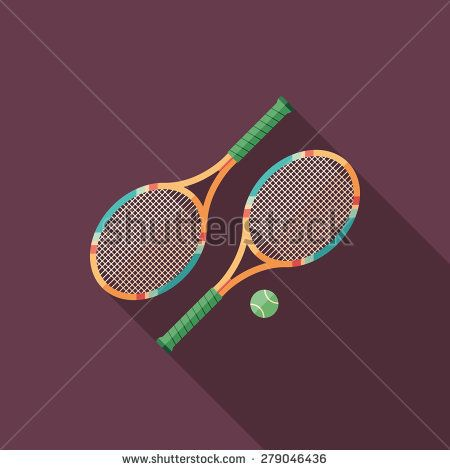 Tennis rackets flat square icon with long shadows. #sport #sporticons #flaticons #vectoricons #flatdesign