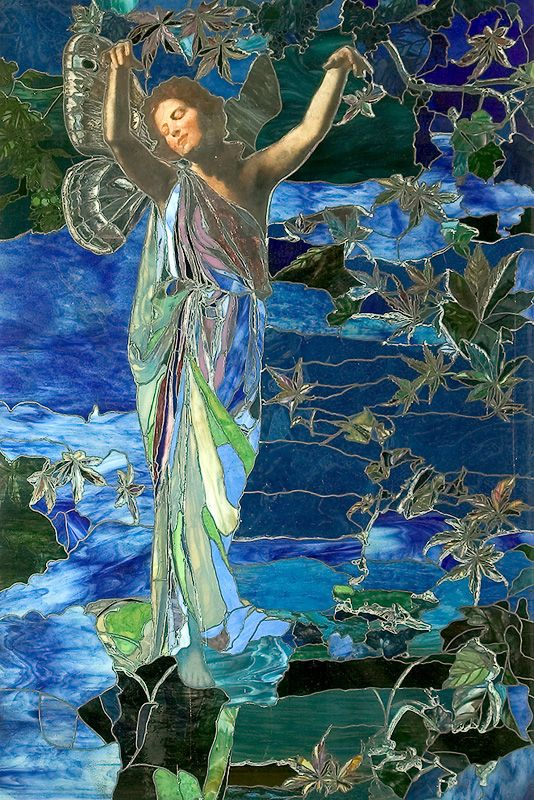 """♥♥♥ """"Autumn"""", stained glass window, 1902 (in the historic Payne Whitney house which is now home to the Cultural Services of the French Embassy in the United States). ~ by John La Farge (1835-1910) -- American painter, muralist, stained glass window maker, decorator, and writer)"""