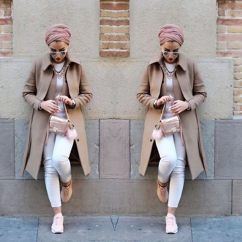 Beige trench coat hijab- Everyday hijab outfits – Just Trendy Girls