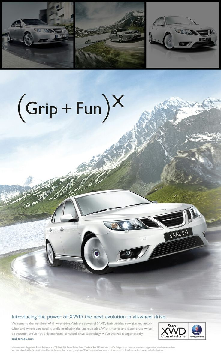 Digital advertisement for the saab 9 3ss xwd