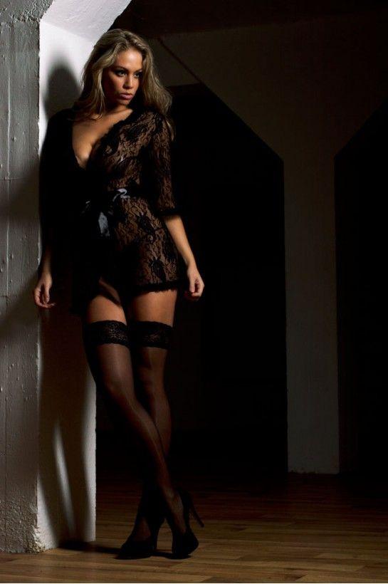 Black Lace Robe with Satin, #madeperfect4u !