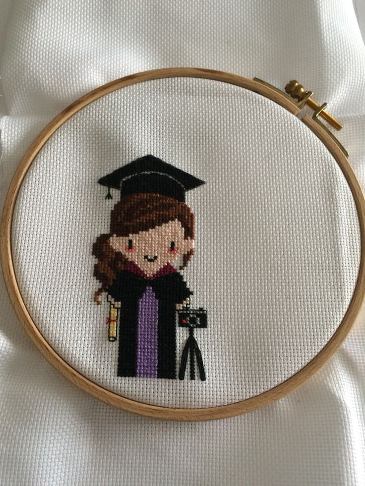 Graduation cross stitch design, personalised for each degree from Etsy Sew Very British