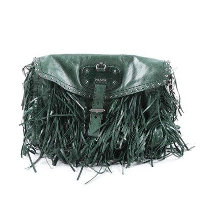 48208a67ab0 Prada Green Leather Vitello Shine Fringe Satchel