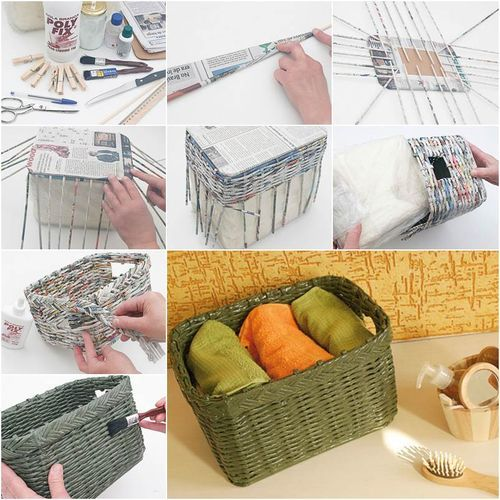 DIY How to Weave a Storage Basket from Old Newspaper / iCreativeIdeas.com