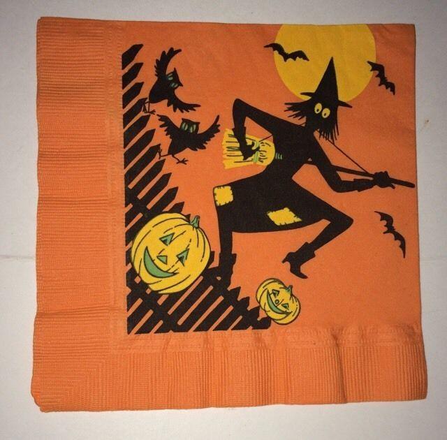 8 vintage halloween witch jol owl paper napkins 1950s reeds rembrandt line - Vintage Halloween Witches