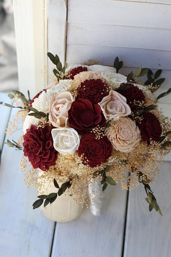 Marsala Burgundy Amp Peach Sola Bouquet Wedding Bouquet