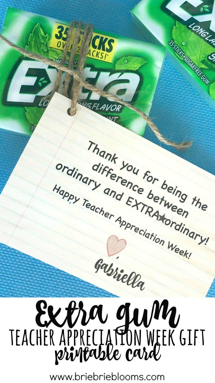 Extra Gum teacher appreciation week gift printable tutorial