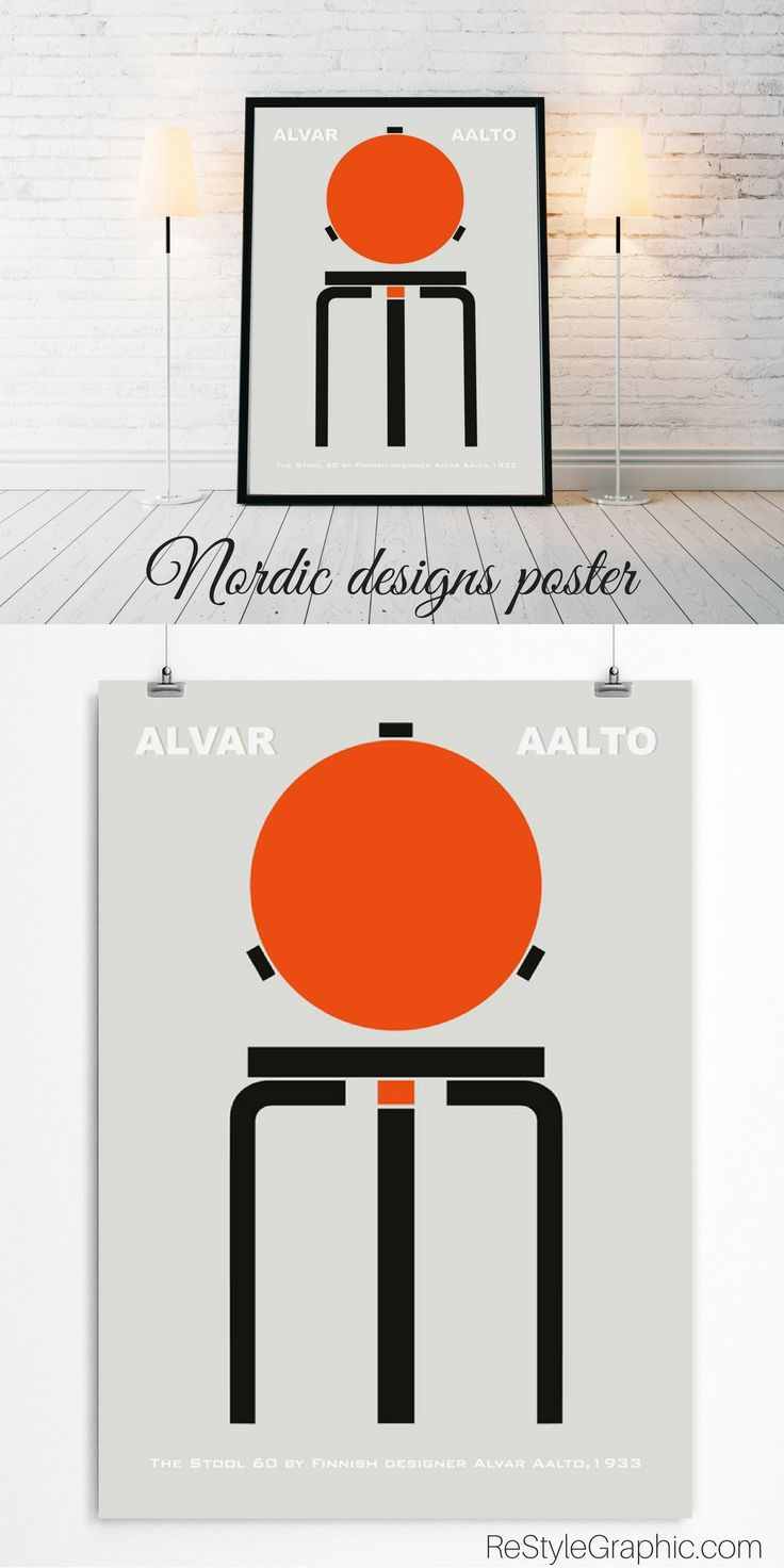 The nordic poster dedicated to the cult Scandinavian designer and architect Alvar Aalto work is perfect for contemporary interior. For all Scandinavian design lovers. Check out on restylegraphic.com