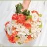 White Gardenias, Peach/orange roses, green hydrangeas Bridal Bouquet.