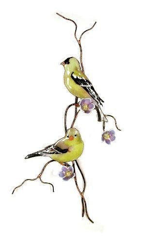 Bovano Enamel Copper Wall Art Goldfinches On Branch Purple Flowers by Bovano. $120.00. This beautiful piece would add style to any home. This piece is of two Goldfinches sitting on a branch with purple flowers. This piece was designed as wall art. This piece was designed by skilled artisans in Cheshire, Connecticut using vitreous enamel (glass) fused to copper in kilns at 1600 degress. It is hand enameled with Vitreous enamel (pulverized glass) using a delicate ...
