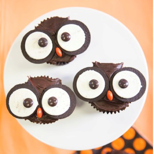 Owl cupcakes - just top with Oreos and Reese's Pieces!