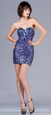 2013 Prom Dresses - Royal Strapless Sequin Short Dress