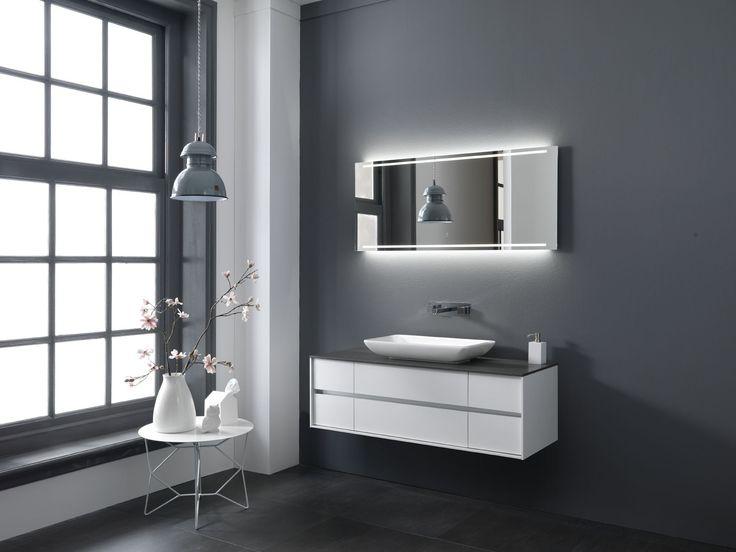 Badkamermeubel greeploos met opbouwkom en LED spiegel. Thebalux badkamermeubelen Stone Type 2