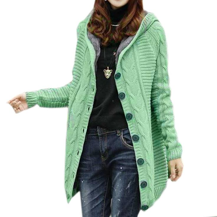 Fashion Casual Women Loose Hooded Knitted Long Sleeve Cardigan Sweaters Coat
