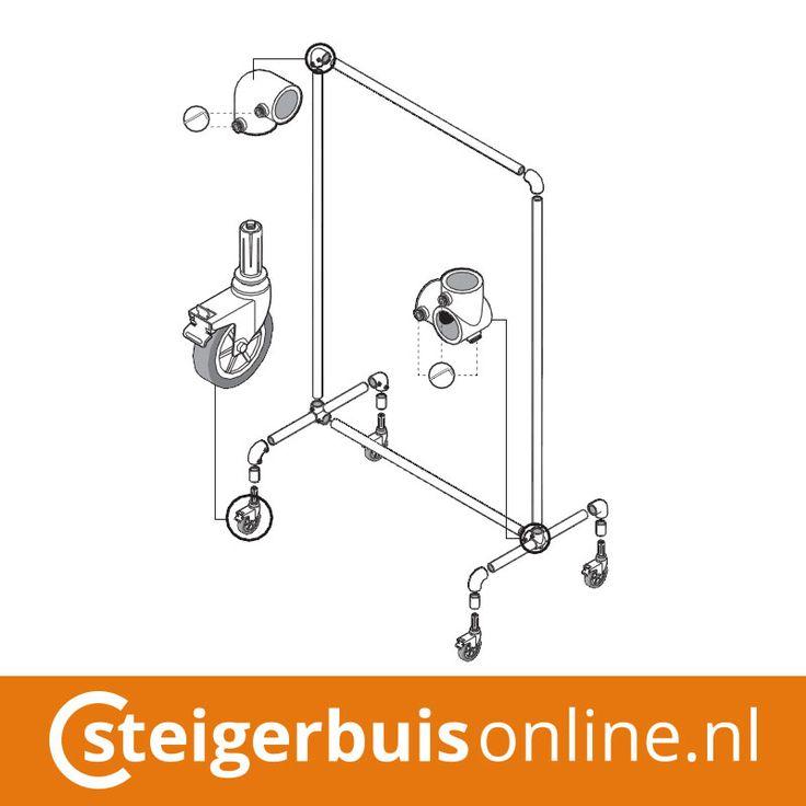 Werktekening (DIY) - Kledingrek wielen van steigerbuis