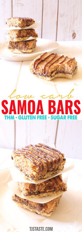 Low Carb Samoa Bars  #lowcarb #lowglycemic #glutenfree #sugarfree #samoa #samoacookies #carameldelite #carameldelight #caramel #coconut #THM #TrimHealthyMama #TrimHealthyMan #dessert via @TJsTaste