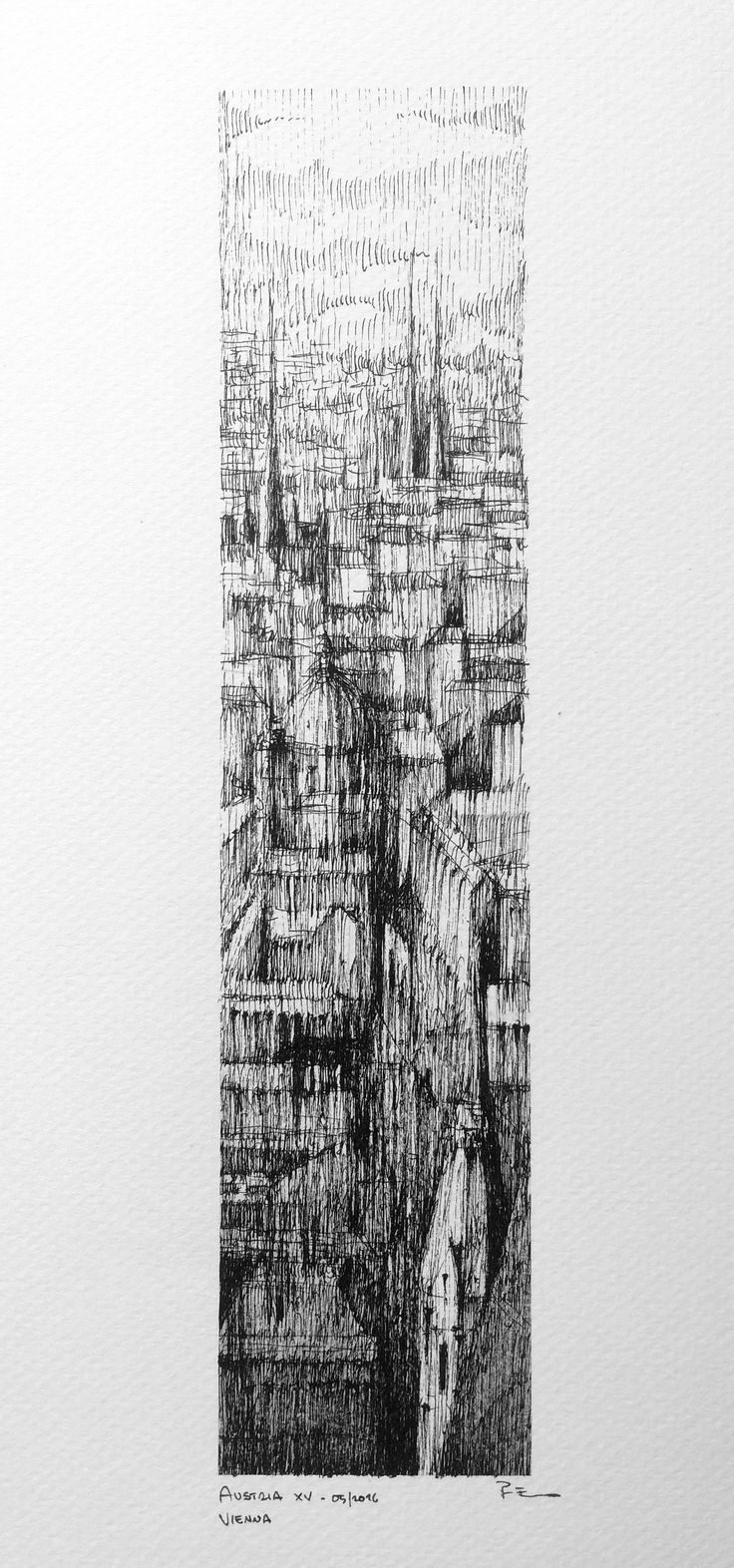 VIENNA VERTICAL I Drawing on paper, 20cmx40cm, ink, coffee      © Pavel Filgas 2016