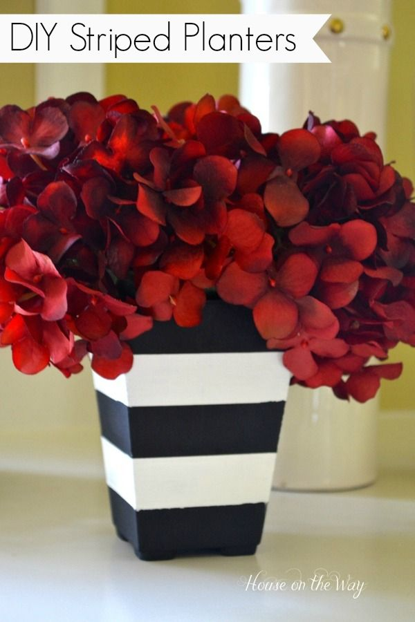 DIY Striped planter: Diy Stripes, Black And White, Red Flowers, Black White, House, Red Hydrangea, White Stripes, Stripes Planters, Red Black