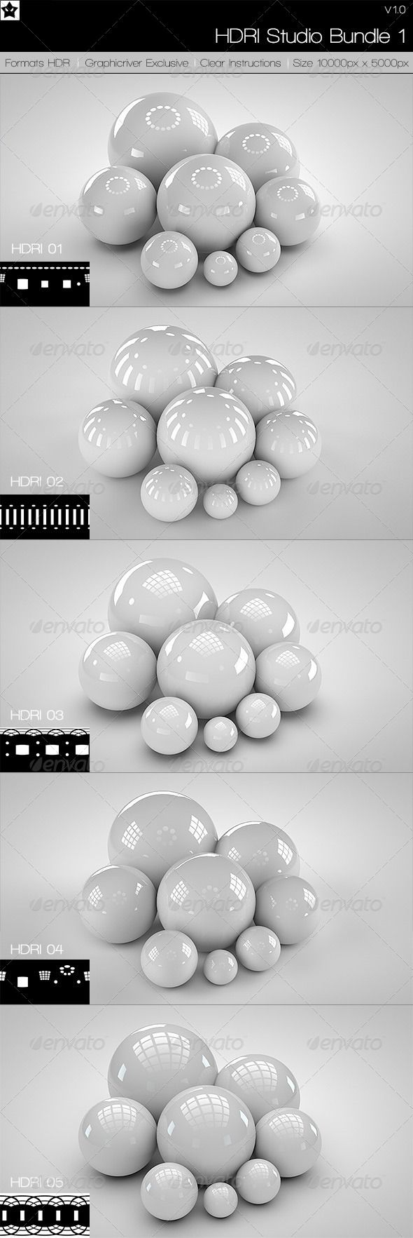 5 realistic Studio HDRI Budle 1 - 3DOcean Item for Sale