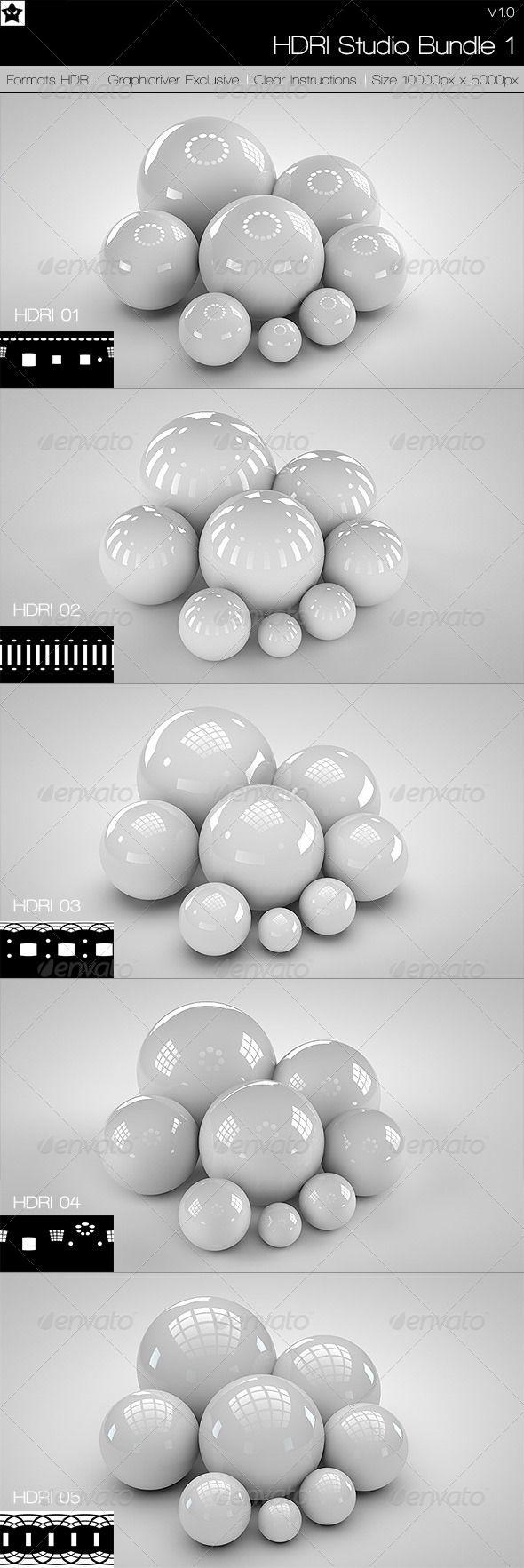 5 realistic Studio HDRI Budle 1 - 3DOcean Item for Sale
