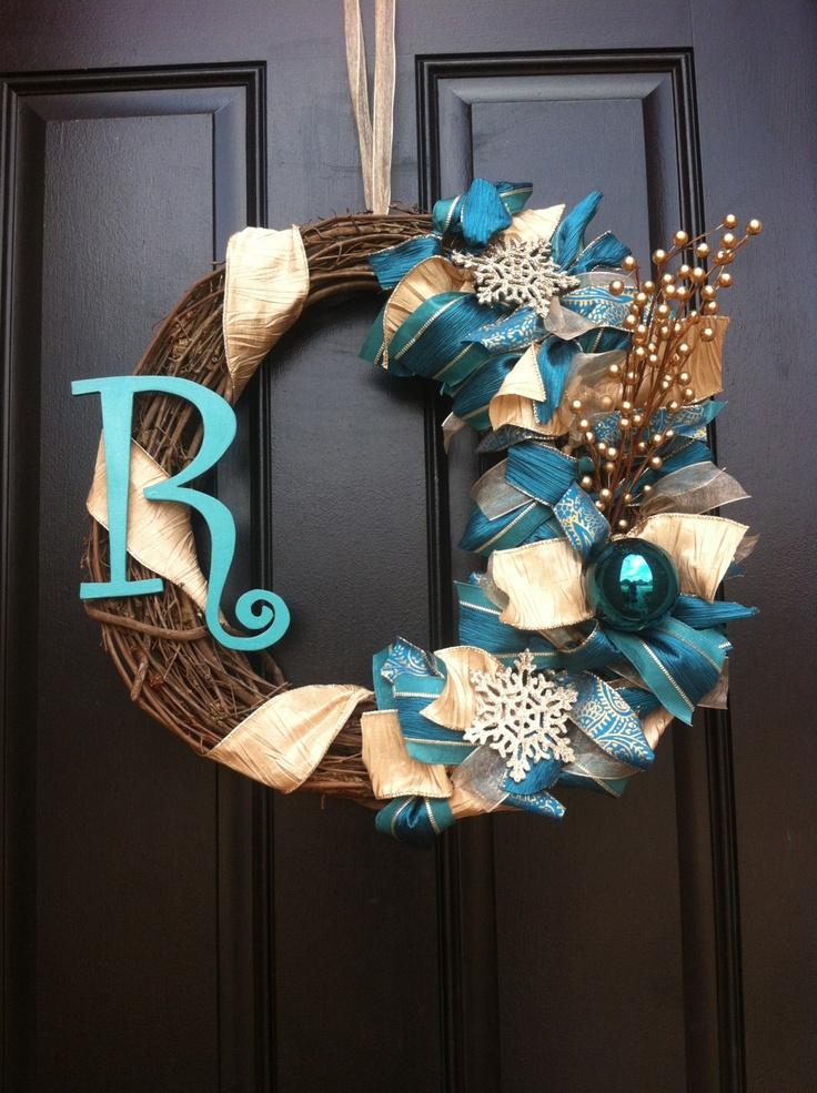 Monogram Winter Wreath - Turquoise/Teal Winter Wreath - Winter Wreath. $55.00, via Etsy.
