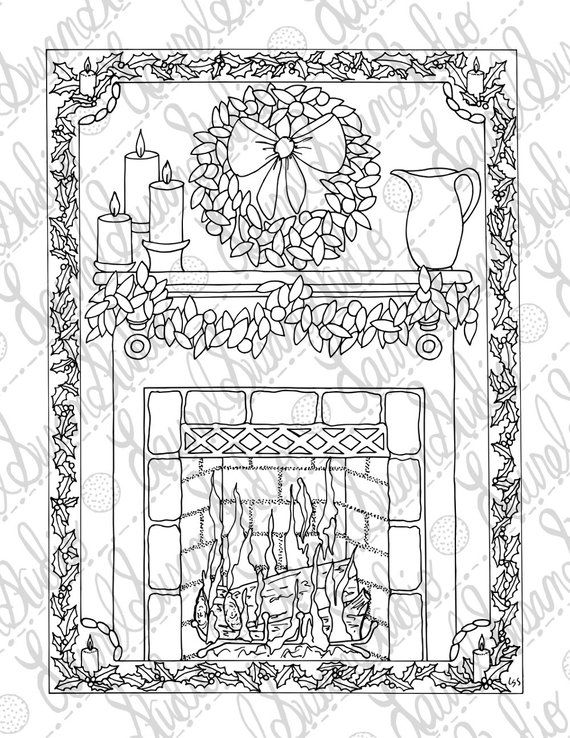 Christmas Coloring Page Adult Coloring Page Holiday Fireplace